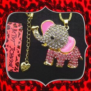 Betsey Johnson Partly Pink Elephant Necklace